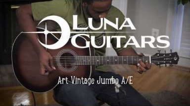 Luna Guitar Vintage Jumbo with Fishman and Solid Top